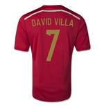 Camiseta Espanha 2014-15 World Cup Home (David Villa 7) - de menino