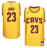Camiseta Cleveland Cavaliers LeBron James adidas Gold New Swingman Alternate