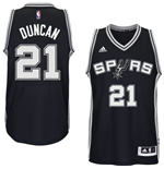 Camiseta San Antonio Spurs Tim Duncan adidas Black New Swingman Road