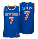 Camiseta New York Knicks Carmelo Anthony adidas Royal Blue New Swingman Road