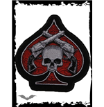Logo Queen of Darkness Red spade with skull & revolvers