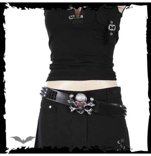 Cinto Queen of Darkness metal skull & X-bones