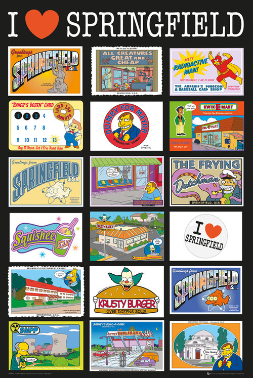 Póster Os Simpsons Postcards