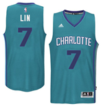 Camiseta Charlotte Hornets Jeremy Lin adidas Teal New Swingman Road