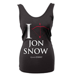 Camiseta de Suspensório Jogo de Poder Soberano (Game of Thrones) I Love Jon Snow
