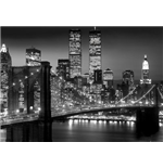 Póster Grande New York  - Brooklyn Bridge Night - 100x140 Cm
