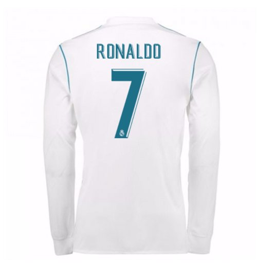 Camiseta Manga Longa 2017 18 Real Madrid 2017-2018 Home de criança (Ronaldo b1ffb196f30b5