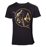 Camiseta Assassins Creed Origins - Golden Bayek And Crest Logo Black