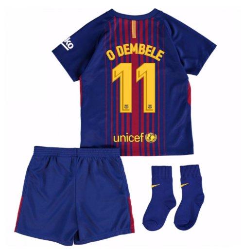 3ab7b641ab Uniforme de futebol para bebê FC Barcelona 2017-2018 Home (O Dembele ...