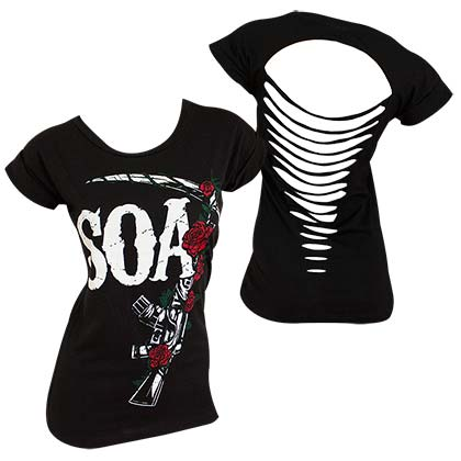 Camiseta Sons of Anarchy Roses Ripped  de mulher
