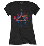 Camiseta Pink Floyd de mulher - Design: Dark Side of the Moon Pink Splatter