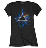Camiseta Pink Floyd de mulher - Design: Dark Side of the Moon Blue Splatter