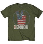 Camiseta John Lennon de homem - Design: Peace Fingers US Flag