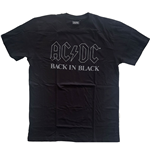 Camiseta AC/DC unissex - Design: Back In Black